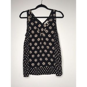 Joie Silk Navy and Black Printed Tank